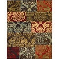 Patty Patchwork Non-Skid Rubber Backing Brown Multi Area Rug (5' x 7')