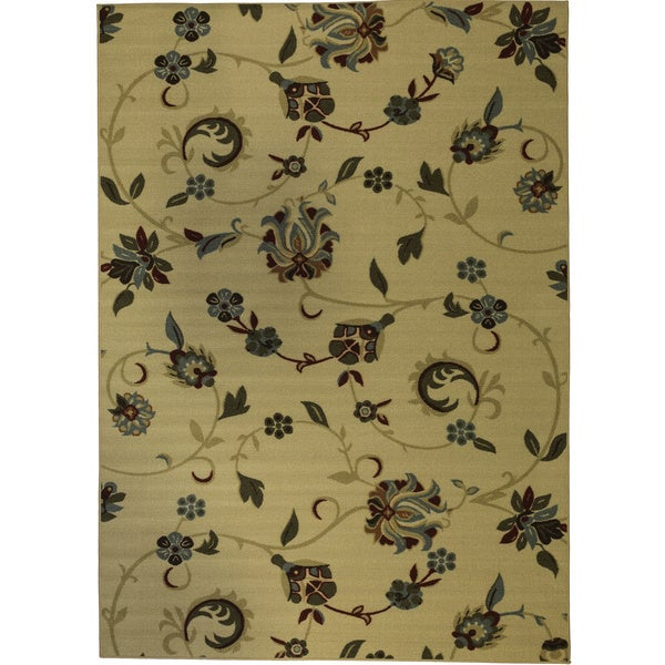 Oriental Swirls Non-skid Rubber Backing Natural Area Rug (5' x 7')
