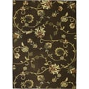 Oriental Swirls Non-skid Rubber Backing Brown Area Rug (5' x 7')