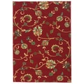 Oriental Swirls Non-skid Rubber Backing Red Area Rug (5' x 7')