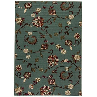 "Oriental Swirls Non-skid Rubber Backing Light Blue Runner Area Rug (20"" x 5')"