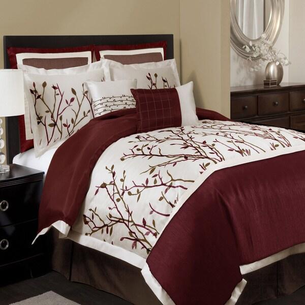 Lush Decor Nature Medley 8-piece Red Comforter Set