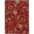 "Oriental Swirls Non-skid Rubber Backing Red Area Rug (3'11"" x 5'3"")"