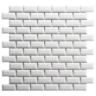 SomerTile 12x12-in Victorian Subway Beveled 1x2-in White Porcelain Mosaic Tile (Pack of 10)