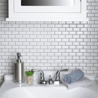 SomerTile 12x12-inch Victorian Subway Beveled White Porcelain Mosaic Floor and Wall Tile (Case of 10