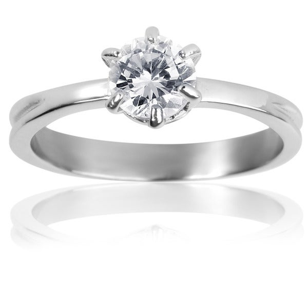 Stainless Steel Classic Prong-set Cubic Zirconia Solitaire Ring