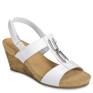 A2 By Aerosoles Women's 'Lightbulb' White Wedge Sandals