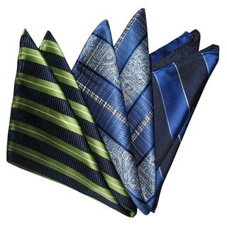 Dmitry Men's Striped/Paisley Italian Silk Pocket Squares (Pack of 3)