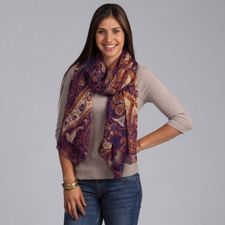 Peach Couture Elegant Purple and Brown Paisley Scarf
