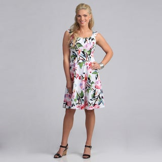 London Times Women's Floral Cotton Fit and Flare Dress