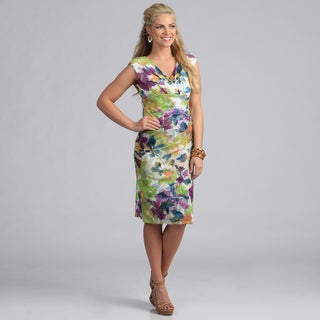 London Times Women's Printed Mesh Sheath Dress