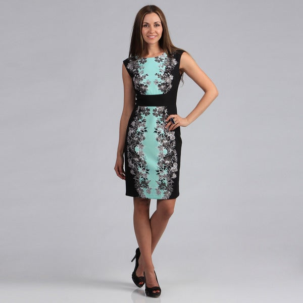 London Times Women's Banded Floral Printed Sheath Dress