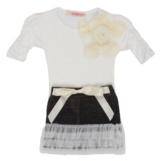 Paulinie Collection Girl's Tiered Denim Skirt and Top Set