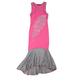 Sweetheart Jane Girls' Feather Designed Sleeveless Hi Low Dress