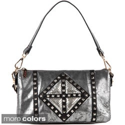 Nicole Lee 'Joanne' Metallic Leather Geometrics Shoulder Bag