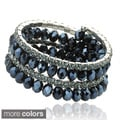Riccova Plated Faceted Crystal 3-row Snake Wrap Bracelet