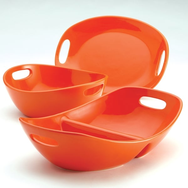 Rachael Ray 3-piece Orange Stoneware Serveware Set