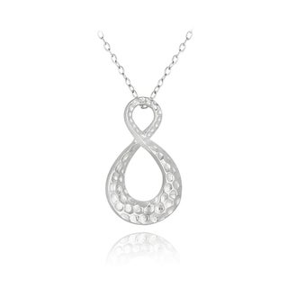 Mondevio Sterling Silver Hammered Infinity Necklace