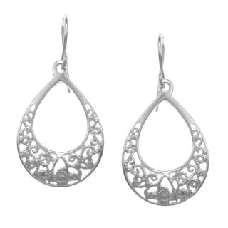 Sunstone Sterling Silver Open Teardrop Filigree Earrings
