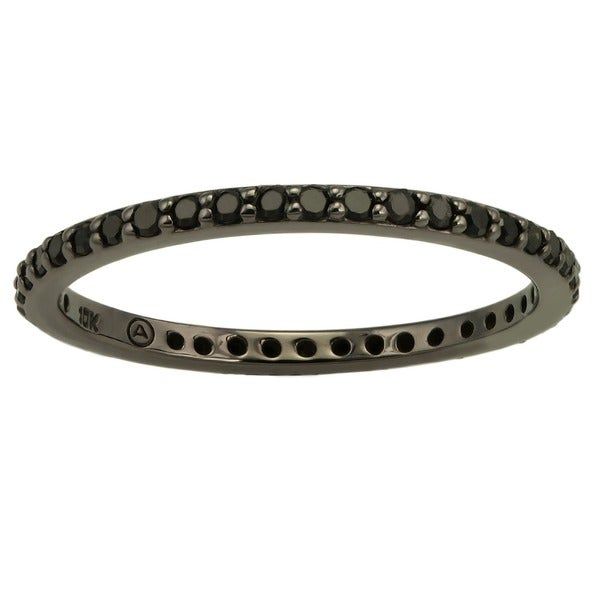 Beverly Hills Charm 10k Black Gold 1/3ct TDW Black Diamond Eternity Band Ring