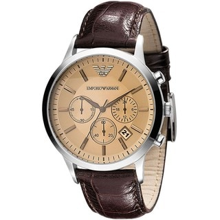 Emporio Armani Men's Chronograph Brown Embossed Leather Strap Watch