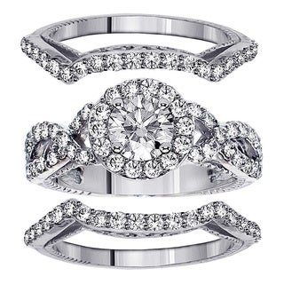 14k or 18k White Gold or Platinum 2 3/5ct TDW Diamond Halo Bridal Ring Set (F-G, SI1-SI2)
