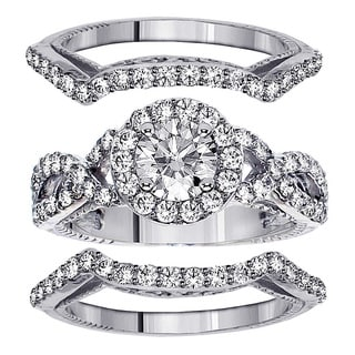 14k White Gold 2 3/5ct TDW Diamond Halo Bridal Ring Set (F-G, SI1-SI2)