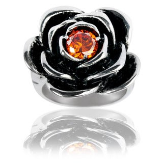 Stainless Steel Red Cubic Zirconia Rose Ring