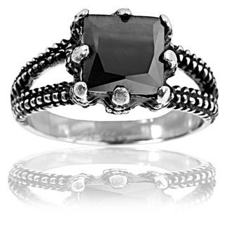 Stainless Steel Square Black Onyx Dragon Claw Ring