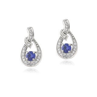 Icz Stonez Sterling Silver Tanzanite and Cubic Zirconia Infinity Earrings