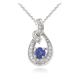 Icz Stonez Sterling Silver Tanzanite and Cubic Zirconia Infinity Necklace