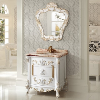 Marble 31.5-inch Bathroom Vanity with Matching Mirror
