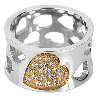 Goldplated Stainless Steel Cubic Zirconia Heart Cutout Ring