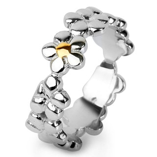 Stainless Steel Goldplated Accent Flower Ring