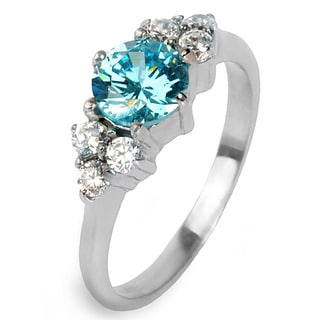 Stainless Steel Blue and White Cubic Zirconia Ring