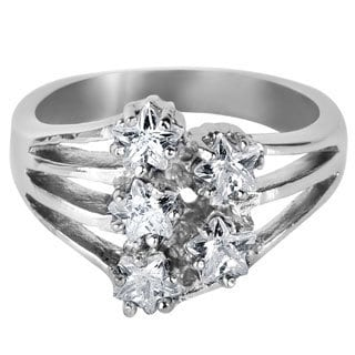 Stainless Steel Star-shaped Cubic Zirconia 5-stone Ring