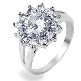 Stainless Steel Cubic Zirconia Flower Ring