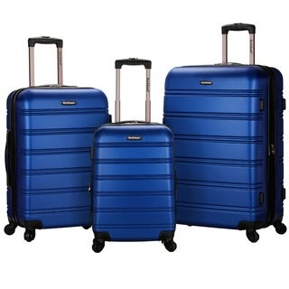 Rockland Melbourne Black Super Lightweight 3-piece Expandable Hardside Spinner Luggage Set