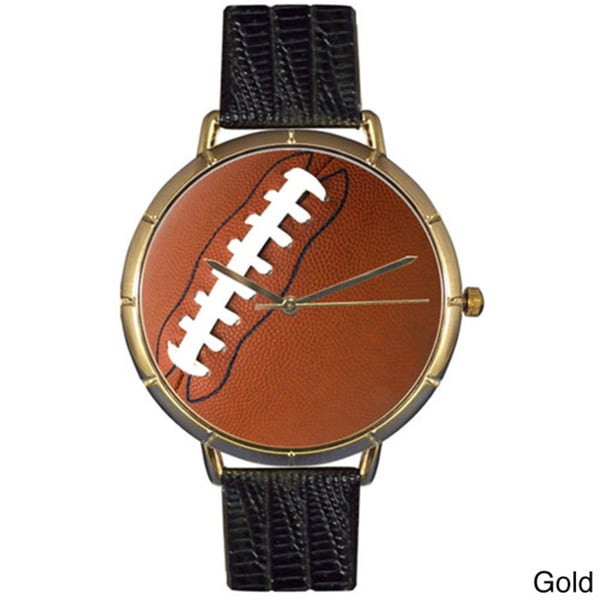 Football Lover Black Leather Photo Watch