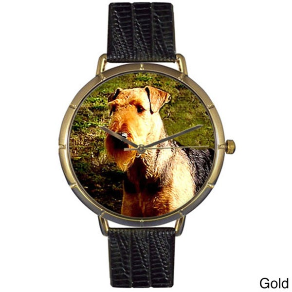 Airedale Terrier Black Leather Photo Watch