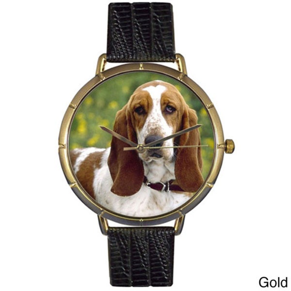 Bassett Hound Black Leather Photo Watch