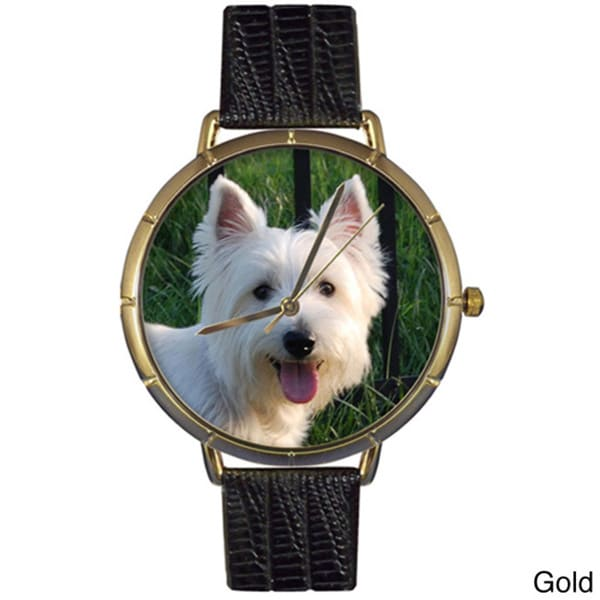 Westie Black Leather Photo Watch