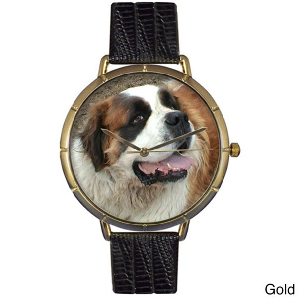 Saint Bernard Black Leather Photo Watch