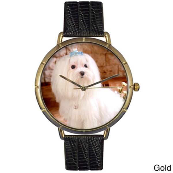 Maltese Black Leather Photo Watch