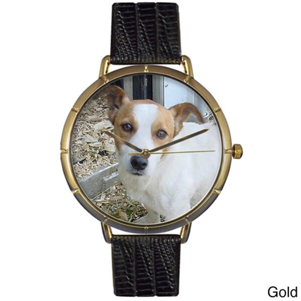 Jack Russel Black Leather Photo Watch