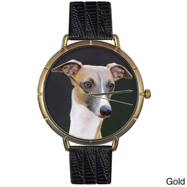 Greyhound Black Leather Photo Watch