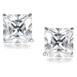 Vance Co. Sterling Silver Cubic Zirconia Square 7-mm Earrings