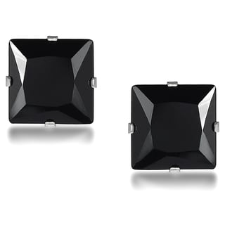 Vance Co. Sterling Silver Black Cubic Zirconia Square 7-mm Stud Earrings