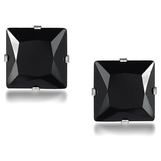 Tressa Sterling Silver Black Cubic Zirconia Square 9-mm Stud Earrings