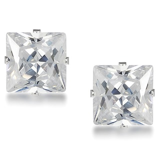Journee Collection Sterling Silver Cubic Zirconia Square 10 mm Stud Earrings